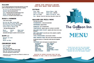 Food Menu at the Galleon Inn